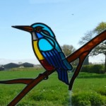 A window in the barge reveals the Kingfisher & the views across to the Trough of Bowland